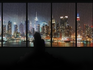 Rain, Windows, Manhattan, skyscrapers