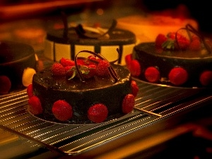 raspberries, Chocolate, Cakes, glaze