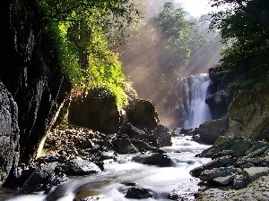 rays, waterfall, rocks, sun, River