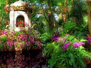 reflection, pavilion, exotic, Garden