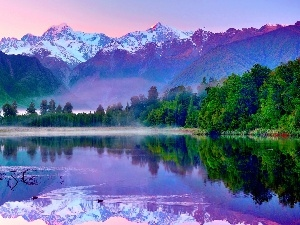 lake, reflection, Mountains