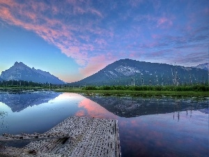 reflection, Platform, Mountains, lake