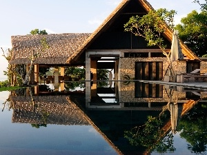 water, reflection, house