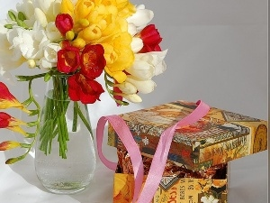 ribbon, Boxes, color, Freesias