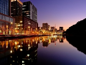 River, Town, Tokio, evening, Japan