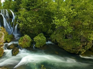 green, River, Mountain, rocks, waterfall, trees, viewes