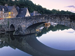 River, bridge, Houses, stone