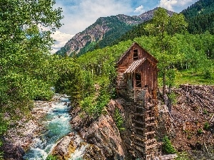 River, Windmill, Crystal Mill, Mountains, Colorado