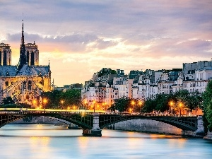 River, bridge, chair, Notre Dame