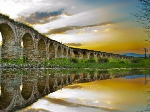 reflection, River, bridge