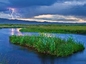 River, lightning, storm, clouds