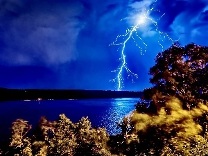 River, Night, Storm, lightning