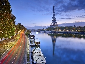 vessels, Way, trees, tower, viewes, France, Paris, Eiffla, River