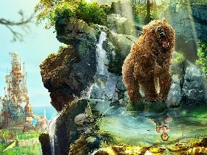 fantasy, rocks, Women, roaring, Castle, Bear, reflection