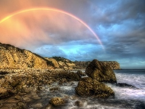 rocks, Great Rainbows, sea