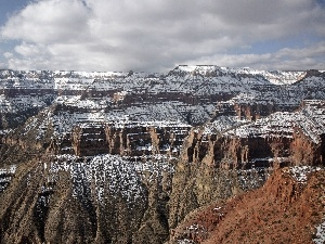 snow, rocks, canyon