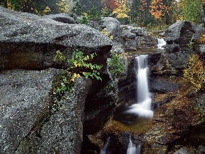 rocks, waterfall