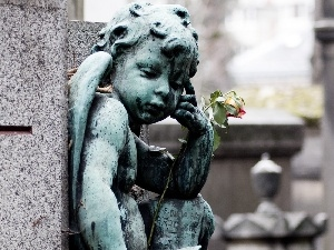 rose, angel, cemetery, statuette