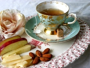 rose, almonds, cup, tea