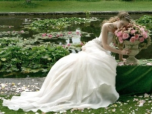 lilies, roses, Pond - car, lady, water, young