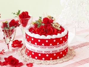 roses, strawberries, Red, Cake