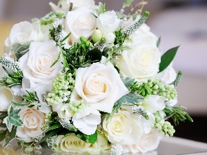 White, roses, bouquet