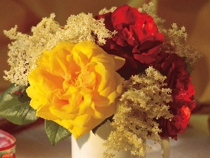 rouge, red, bouquet, yellow