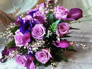 violet, rouge, bouquet