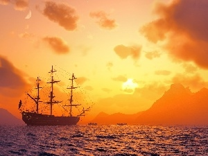 sailing vessel, sea, west, sun