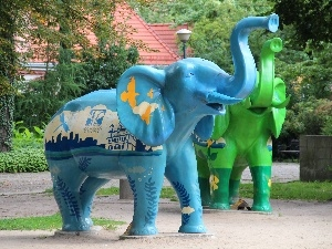 sculpture, Elephant, blue, Green