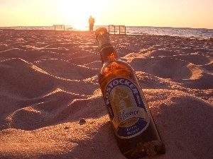 sea, Beaches, Bottle, beer