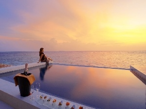 sun, sea, Hotel hall, Women, west, Pool, Champagne