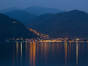 sea, night, Italy, Town