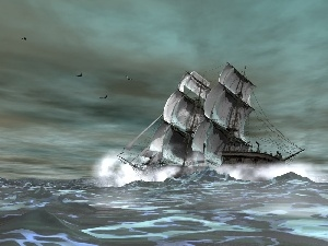 sea, Waves, sailing vessel