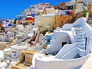 sea, buildings, santorini, Town