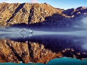 Ship, Fog, Mountains, passenger, River