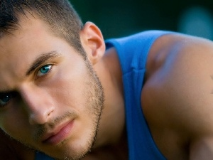 Shirt, Blue, a man, Eyes