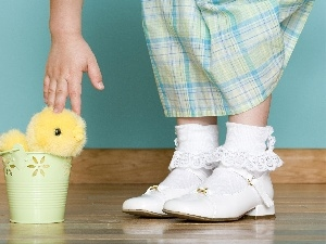 Shoes, girls, easter, chicken
