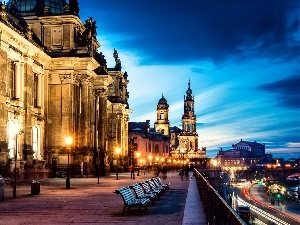 Sights, Town, Dresden, bench, old
