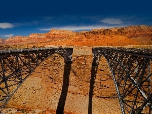 Sky, canyon, Two cars, Bridges
