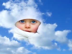 Sky, Blue, Eyes, Kid, clouds, face