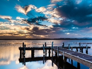 Sky, clouds, lake, pier