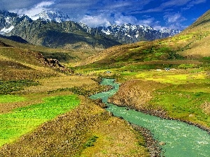 Sky, brook, Mountains, Valley
