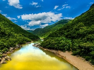 Mountains, Sky, River