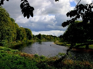 Sky, cloudy, River, green