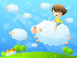 sheep, Sky, Kid