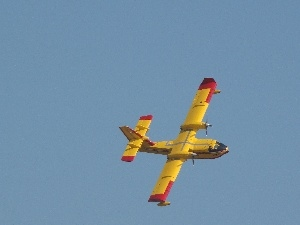 Sky, plane, yellow, Red