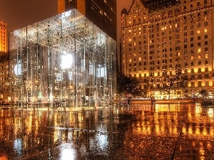 skyscraper, New York, Apple Store