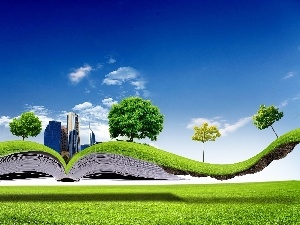 skyscrapers, viewes, grass, Book, clouds, trees