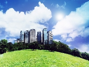 skyscrapers, viewes, Lawn, Hill, clouds, trees